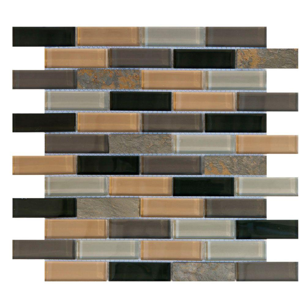 Jeffrey Court Harbor Bay 11-5/8 in. x 11-5/8 in. Glass and Slate Mosaic Wall Tile-DISCONTINUED