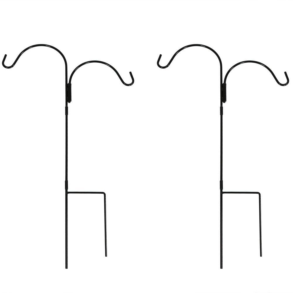 36 in. Durable Powder-Coated Steel Double Shepherd Hook (Set of 2)