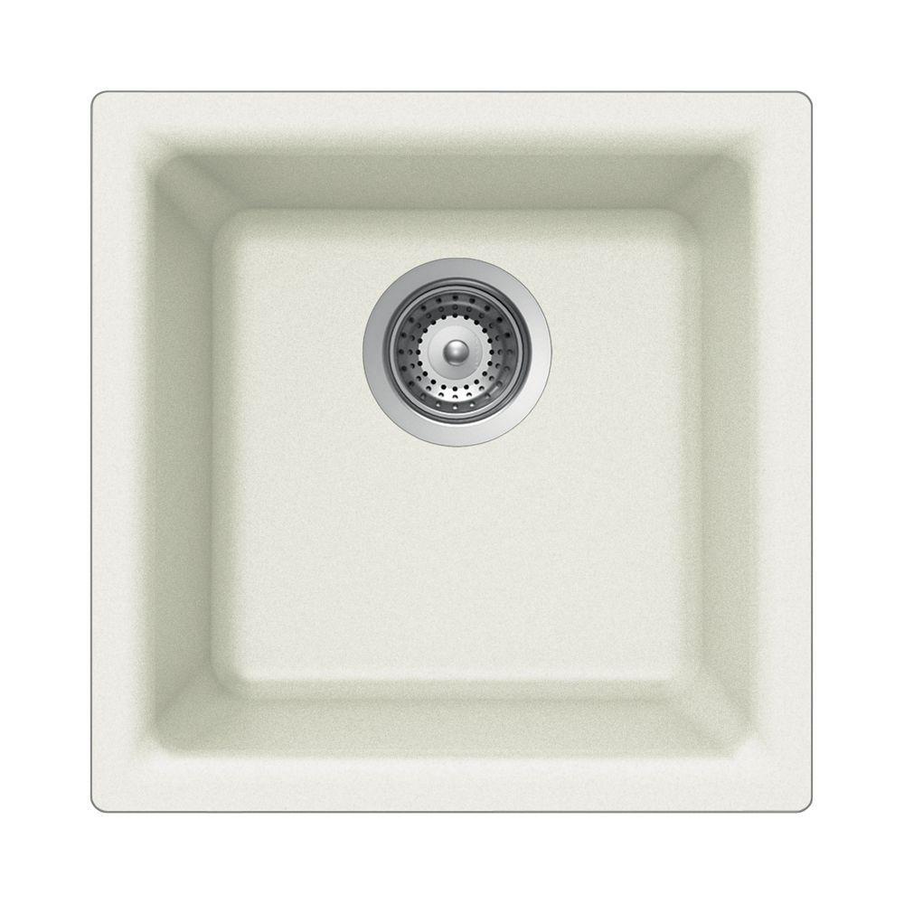 Houzer Quartztone Series Dual Mount Composite Granite 16 In Single Bowl Kitchen Sink Cloud
