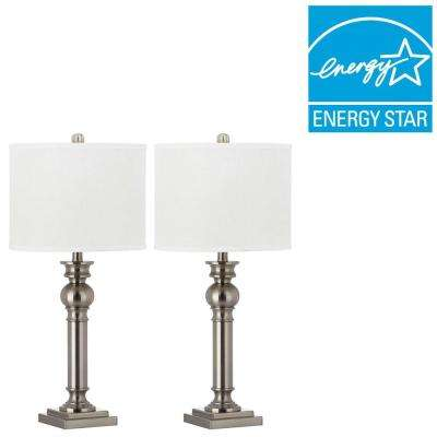 Argos Column 28.25 in. Nickel Table Lamp with Off-White Shade (Set of 2)
