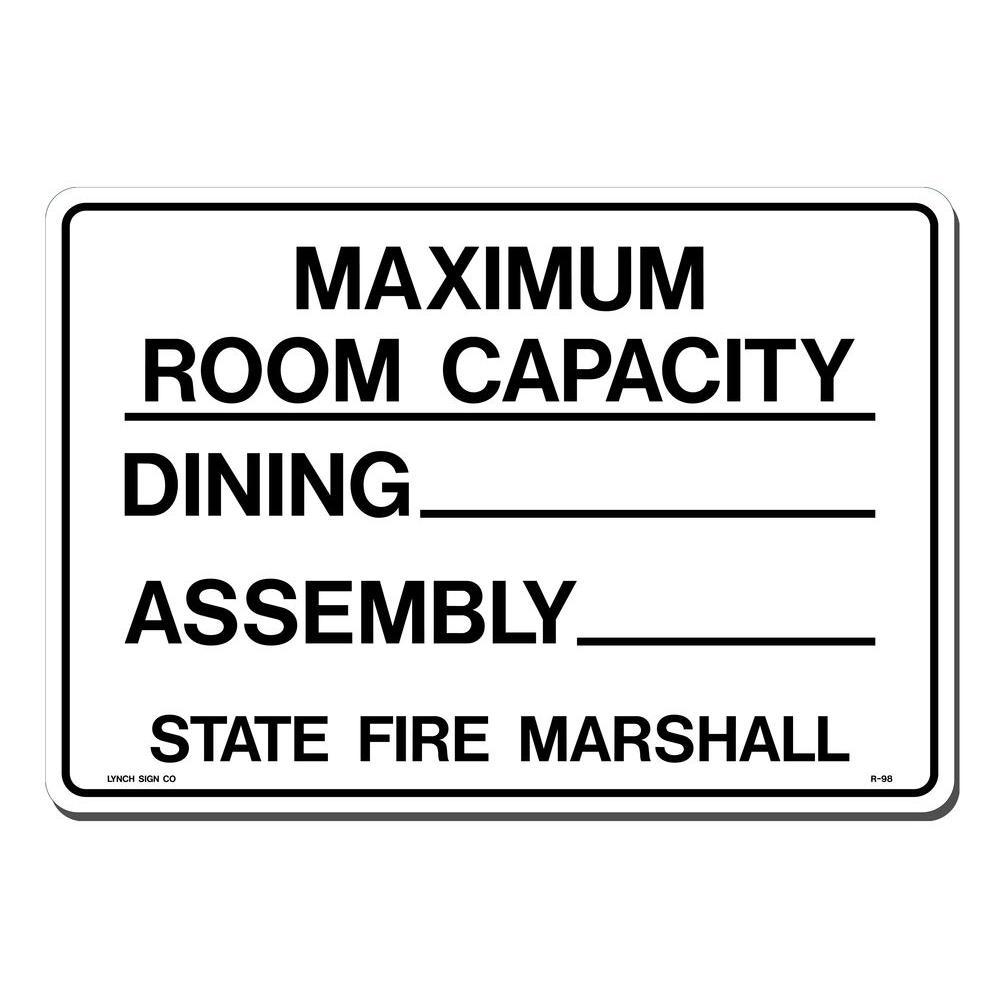 14 in. x 10 in. Maximum Room Capacity - Dining Sign