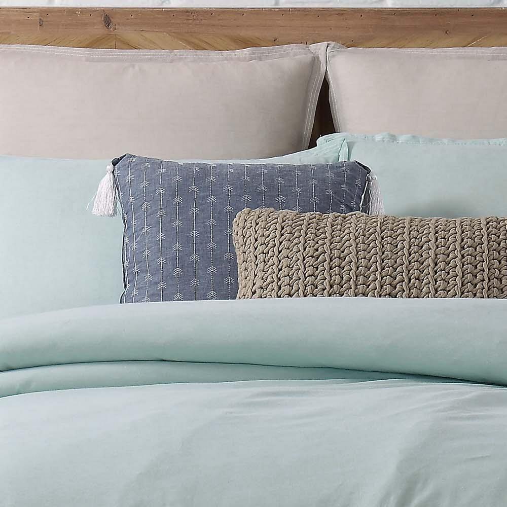 Chambray Loft Blue Square Pillow