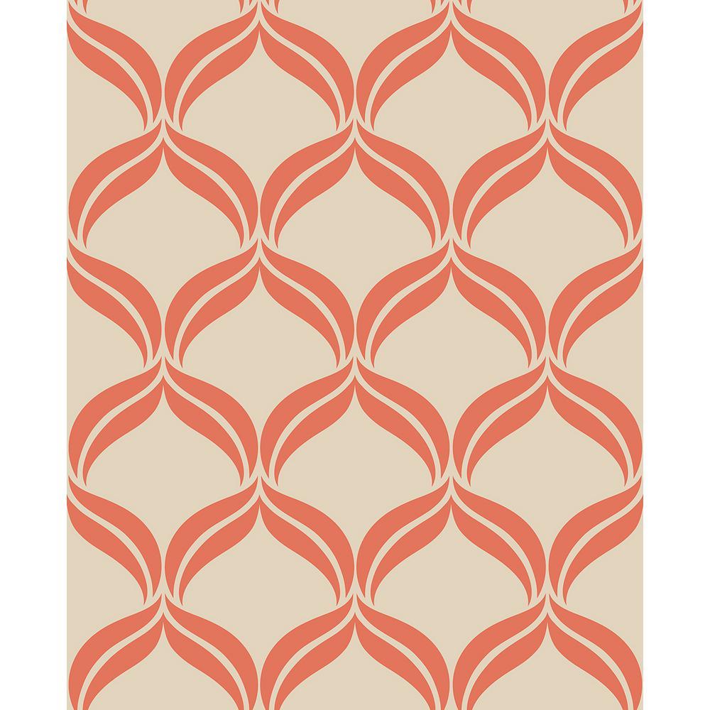 Tremendous Petals Orange Ogee Wallpaper Interior Design Ideas Skatsoteloinfo