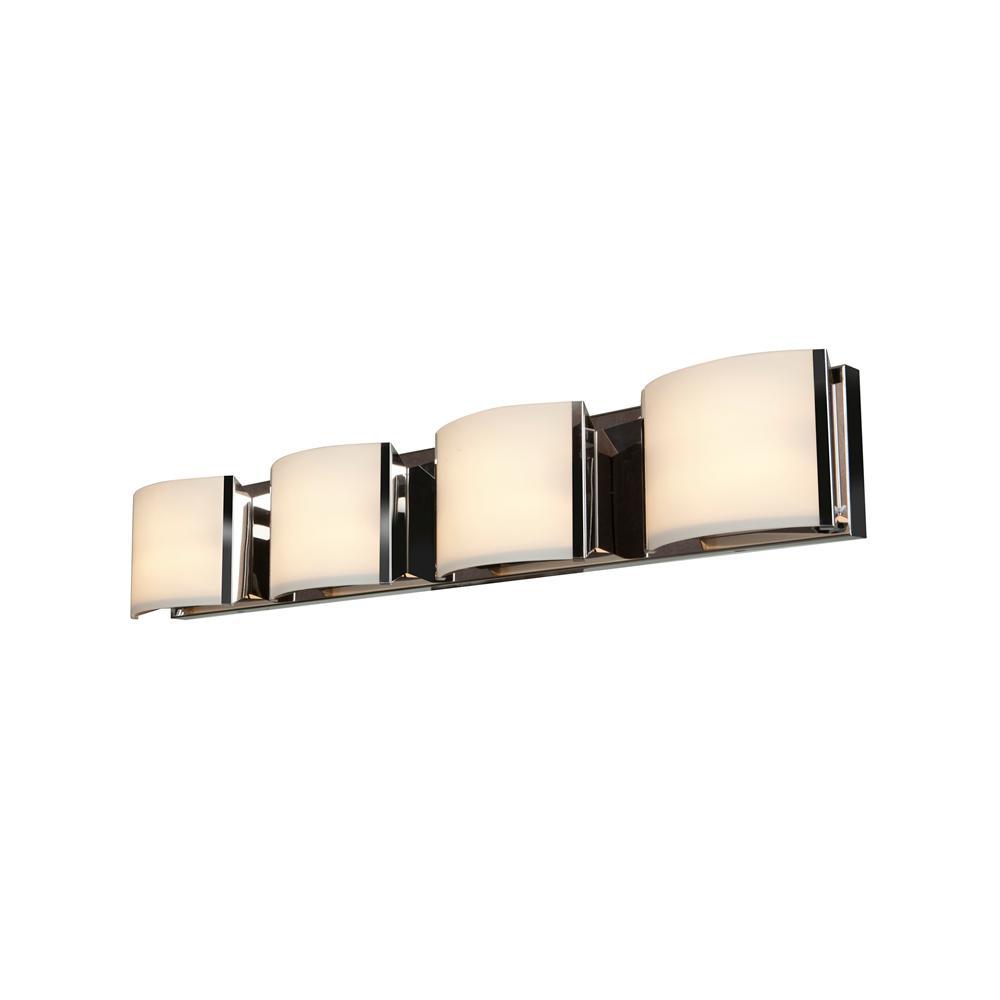 Nitro2 4-Light Brushed Steel Bath Light with Opal Shade