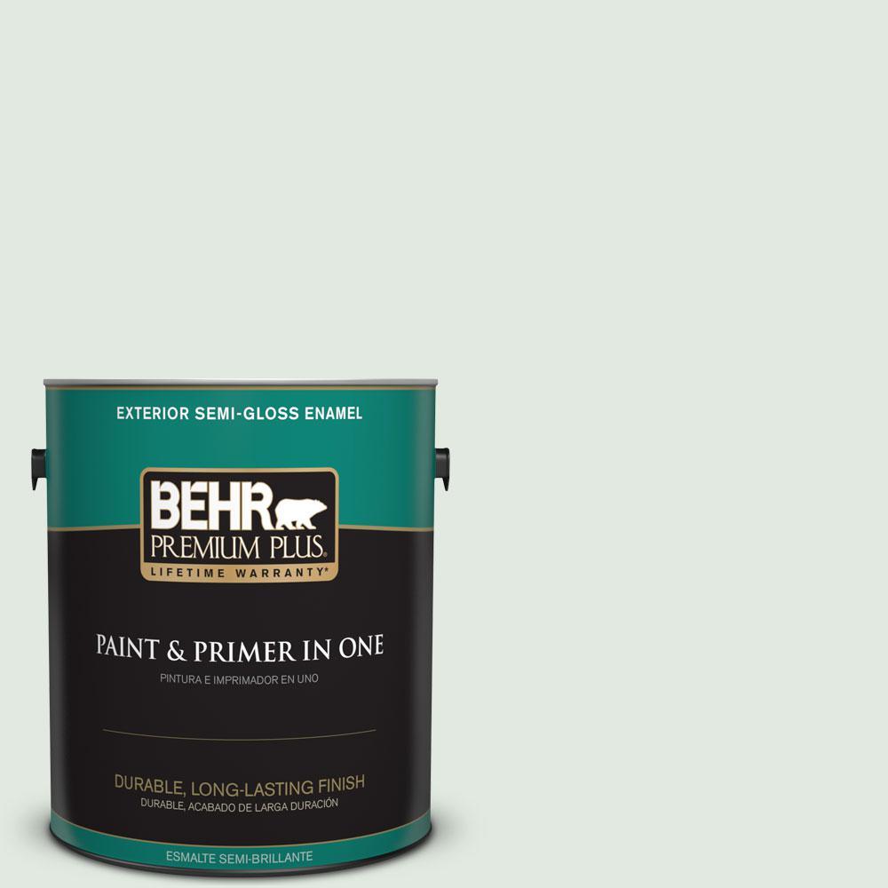 BEHR Premium Plus 1-gal. #450E-1 Shimmer Semi-Gloss Enamel Exterior Paint, Greens