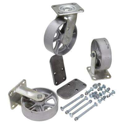 6 in. x 2 in. Semi Steel Caster Kit - Set of 3 - 3,600 lb. Capacity
