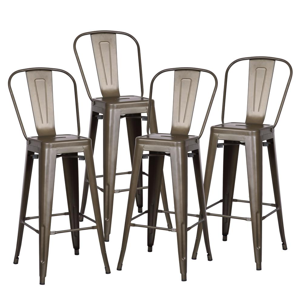 Poly And Bark Trattoria 30 In High Back Bar Stool In Bronze Set Of 4