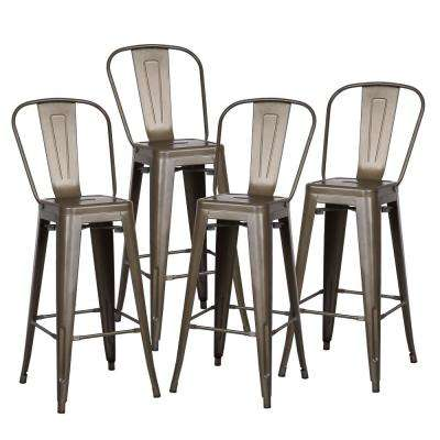 Trattoria 30 in. High Back Bar Stool in Bronze (Set of 4)