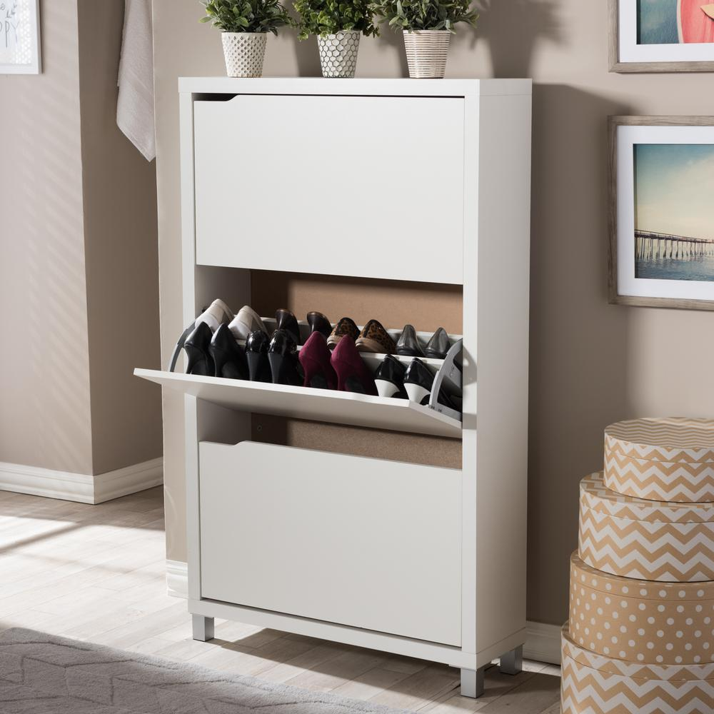 Simms Wood Modern Shoe Cabinet In White