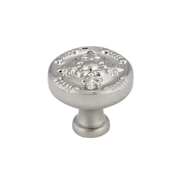 1-1/4 in. (32 mm) Brushed Nickel Traditional Metal Cabinet Knob