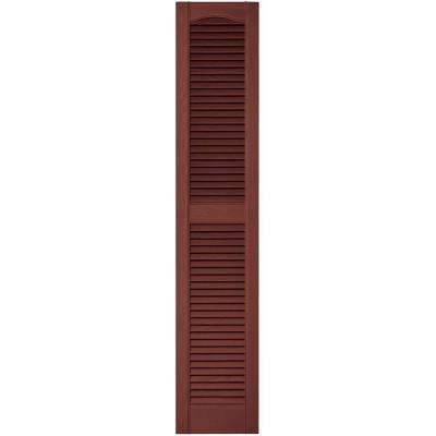 12 in. x 60 in. Louvered Vinyl Exterior Shutters Pair in #027 Burgundy Red