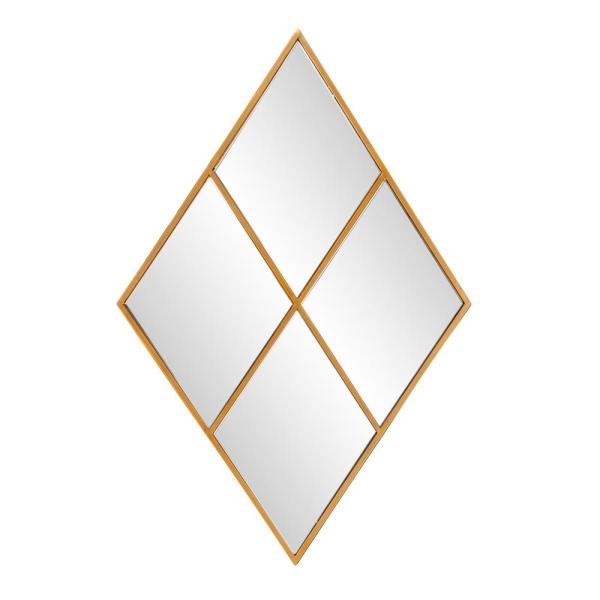 Medium Diamond Gold Windowpane Mid-Century Modern Accent Mirror with Beveled Glass (35 in. H x 23 in. W)