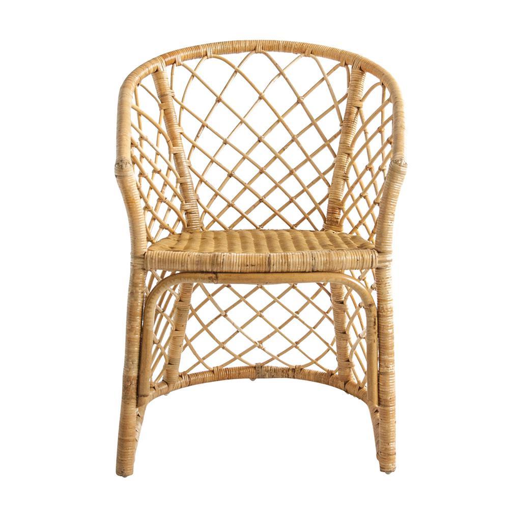 Beige Handwoven Rattan Chair