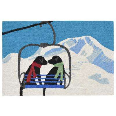 Woodside Ski Partners Winter 2 ft. x 3 ft. Rectangle Indoor/Outdoor Area Rug