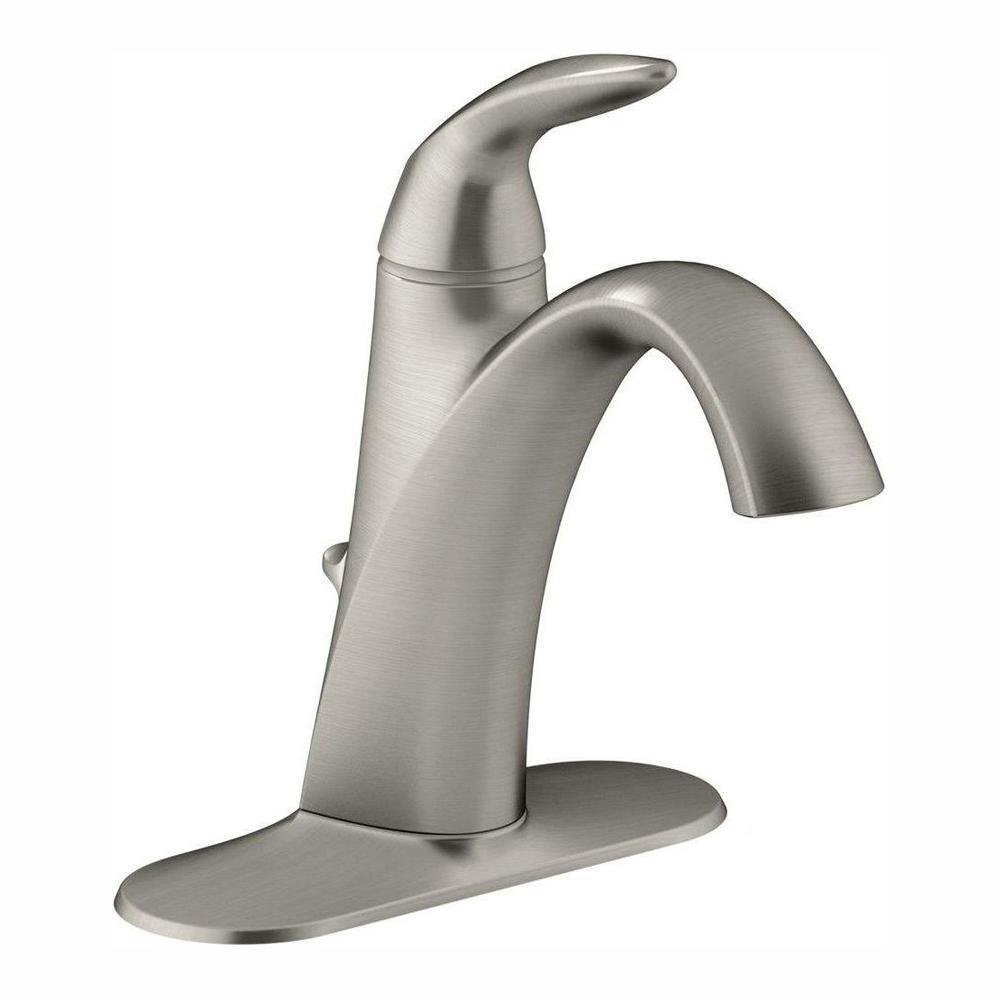 Alteo Single Hole Single Handle Mid Arc Water-Saving Bathroom Faucet in Vibrant Brushed Nickel