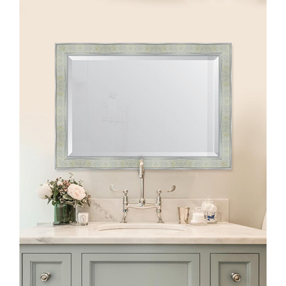 Melissa Van Hise 30 in. x 42 in. Framed Pearl and Silver Mirror ...