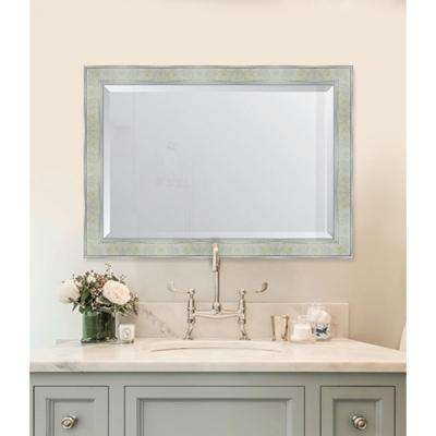 30 in. x 42 in. Framed Pearl and Silver Mirror