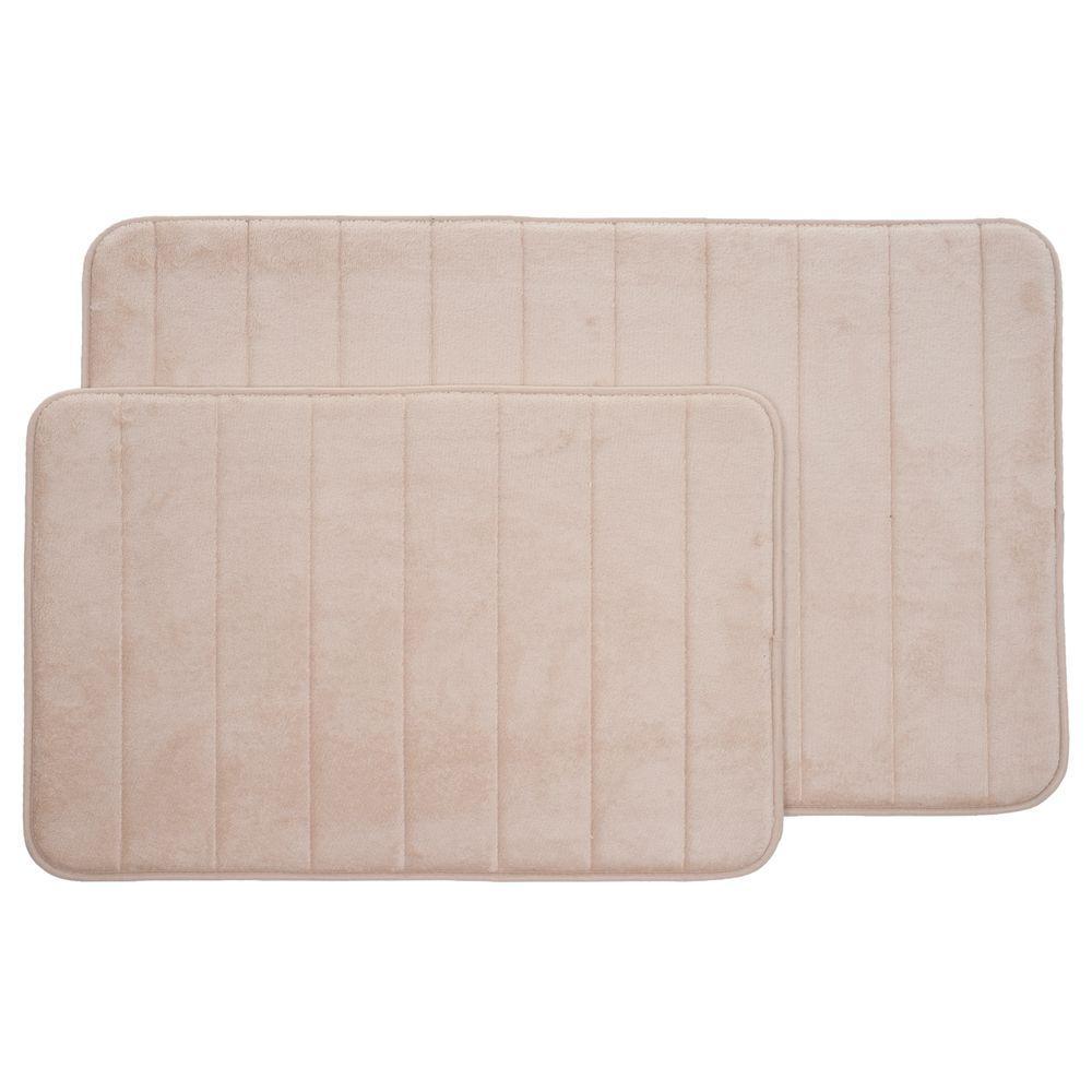 Ivory 20.25 in. x 32.25 in. Memory Foam 2-Piece Bath Mat Set