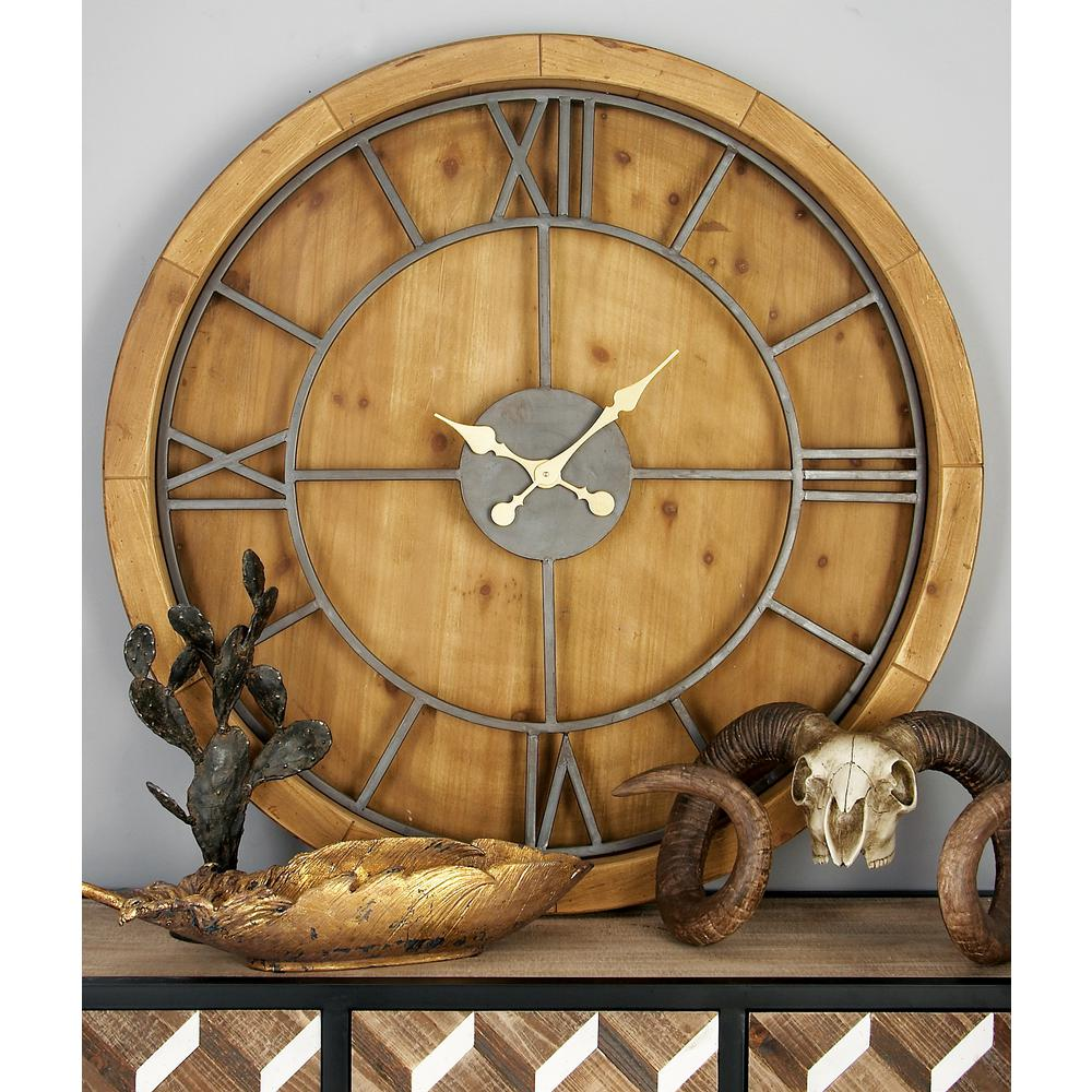 Litton Lane 40 In Rustic Wooden Round Wall Clock 44381 The Home Depot