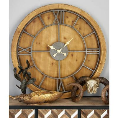 40 in. Rustic Wooden Round Wall Clock
