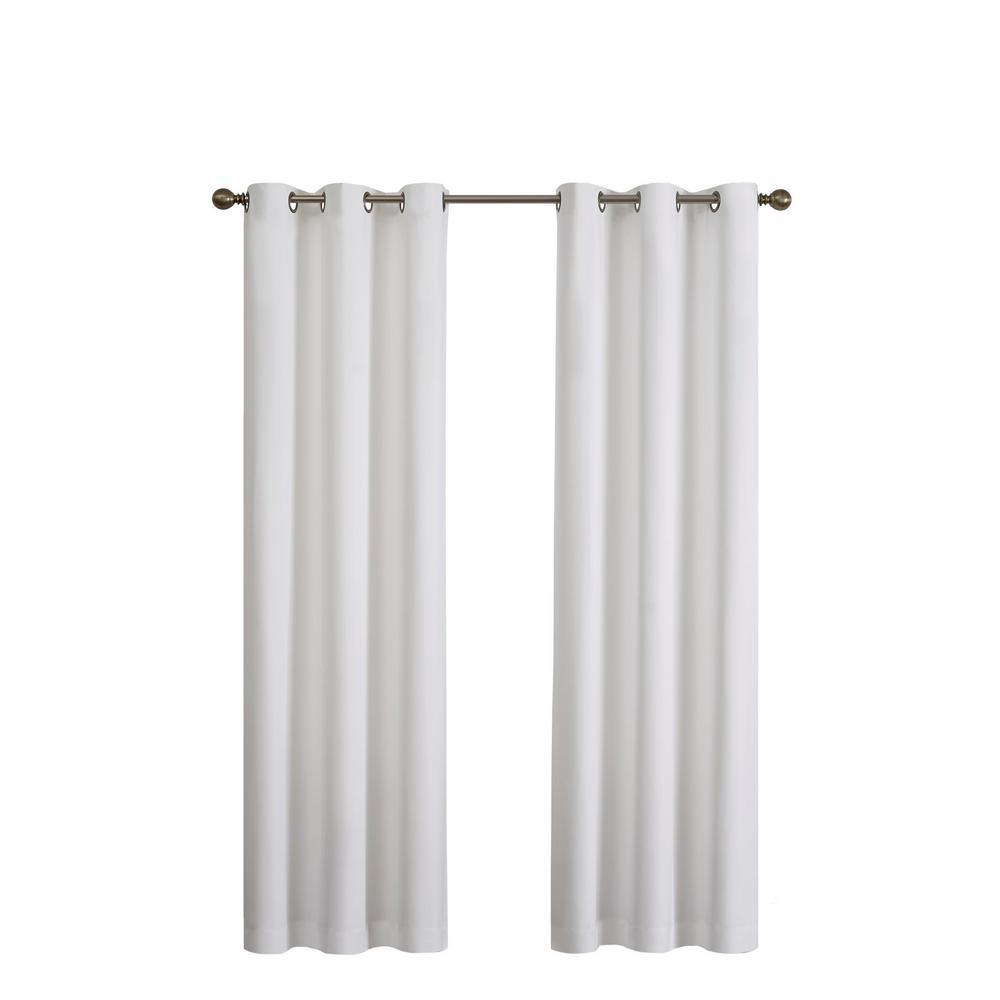 Microfiber Blackout Window Curtain Panel in White - 42 in. W x 63 in. L