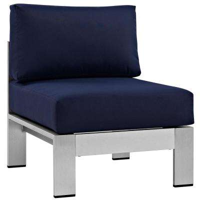 Shore Armless Patio Aluminum Outdoor Lounge Chair in Silver with Navy Cushions