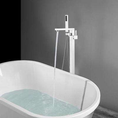 34 in. H x 12 in. W Single Handle Claw Foot Tub Faucet with Hand Shower in Polished Chrome