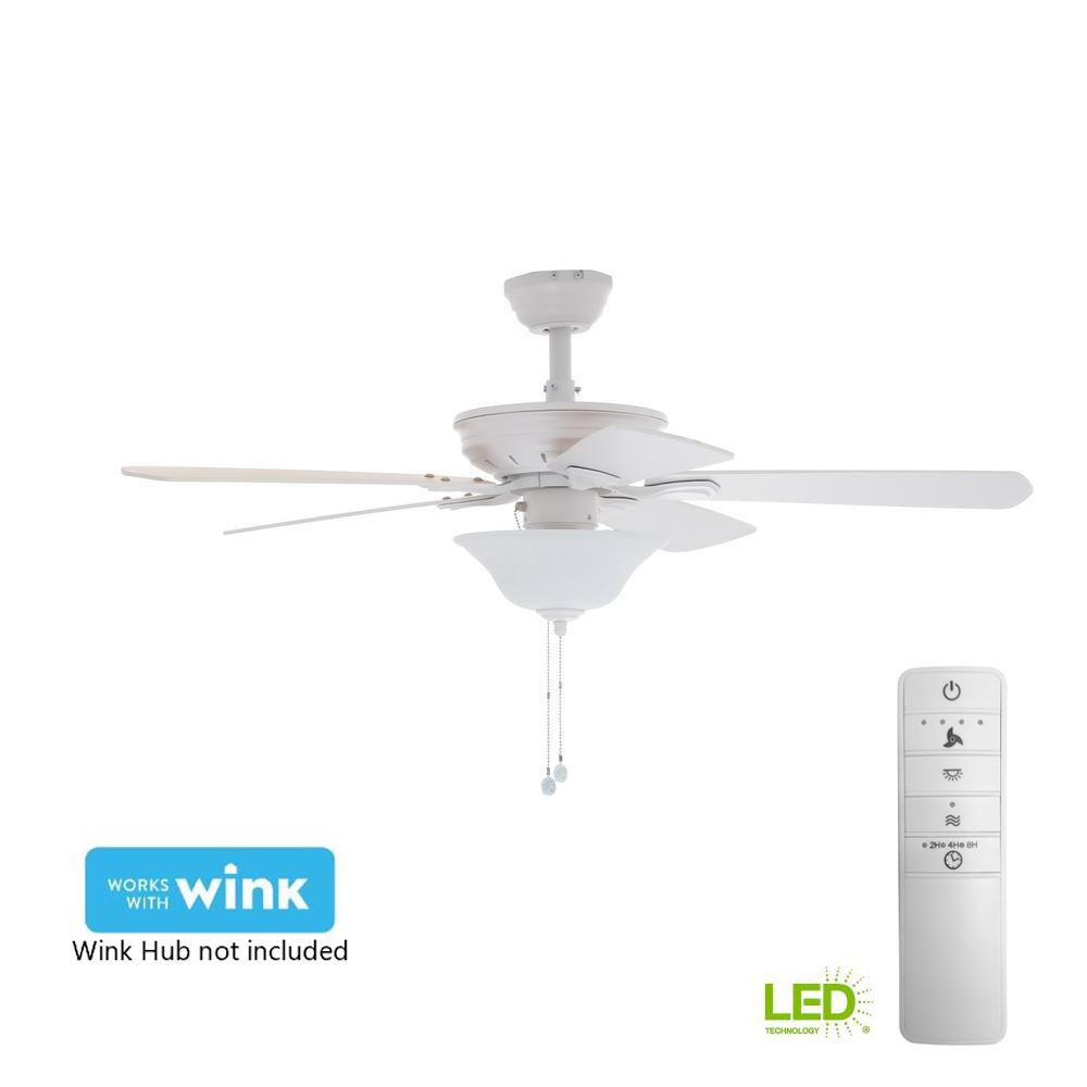 hampton bay wellston 44 in led matte white smart ceiling fan with light kit and wink remote. Black Bedroom Furniture Sets. Home Design Ideas