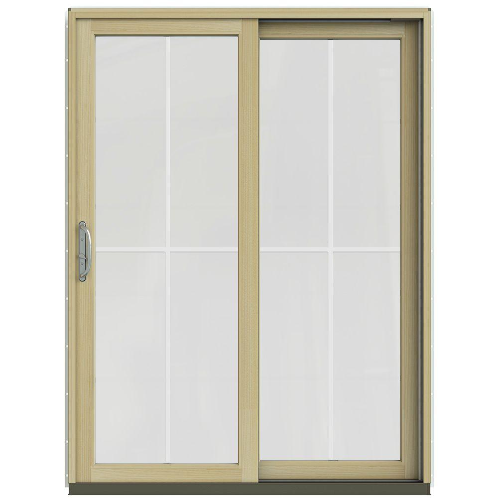 Jeld wen 60 in x 80 in w 2500 contemporary vanilla clad wood right hand 4 lite sliding patio for Jeld wen french doors interior