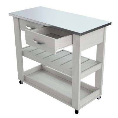 Washed Oak 46.8 in. x 33.8 in. x 19.7 in. Mobile Kitchen Utility Cart with Stainless Steel Top