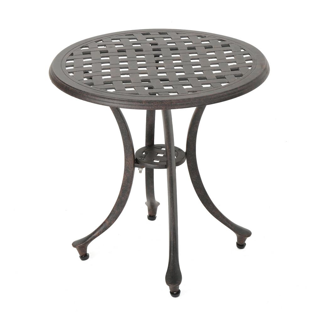 Noble House Bronze Round Aluminum Outdoor Side Table ...