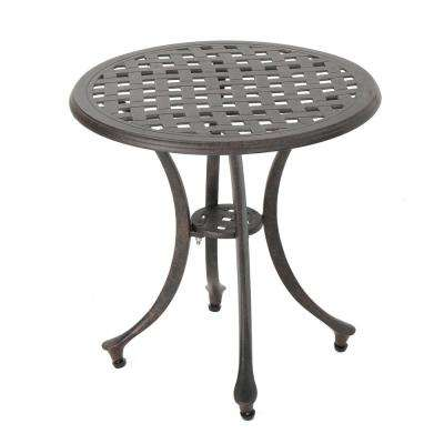 Bronze Round Aluminum Outdoor Side Table