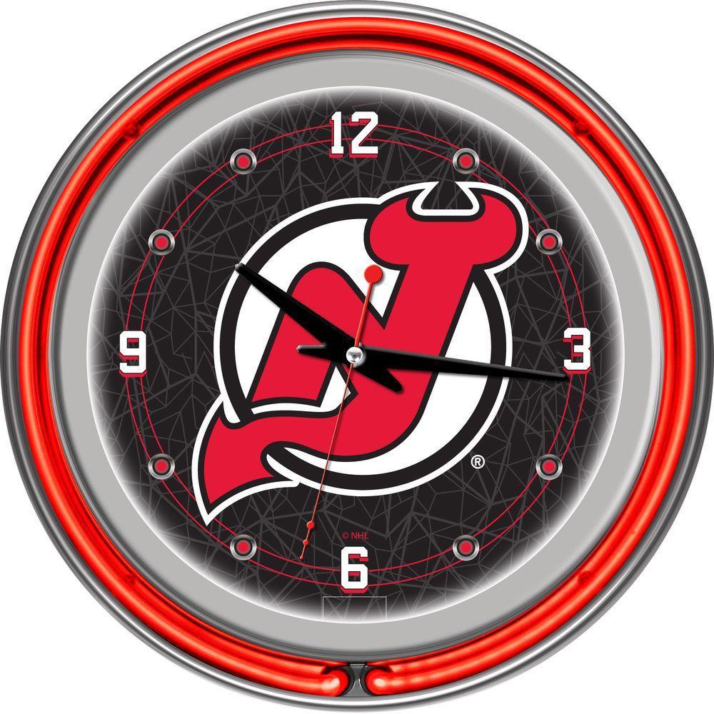 Trademark Global 14 in. New Jersey Devils NHL Neon Wall Clock