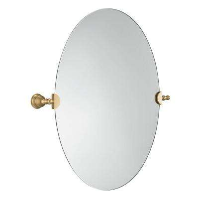 Revival 28-1/2 in. x 26-1/8 in. Oval Mirror in Vibrant Brushed Bronze