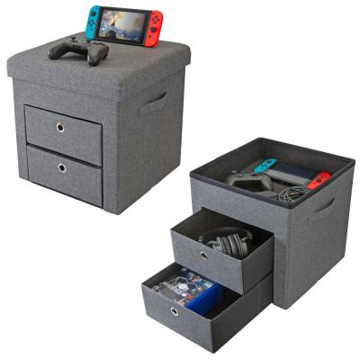 2-Drawer Collapsible Storage Ottoman in Grey