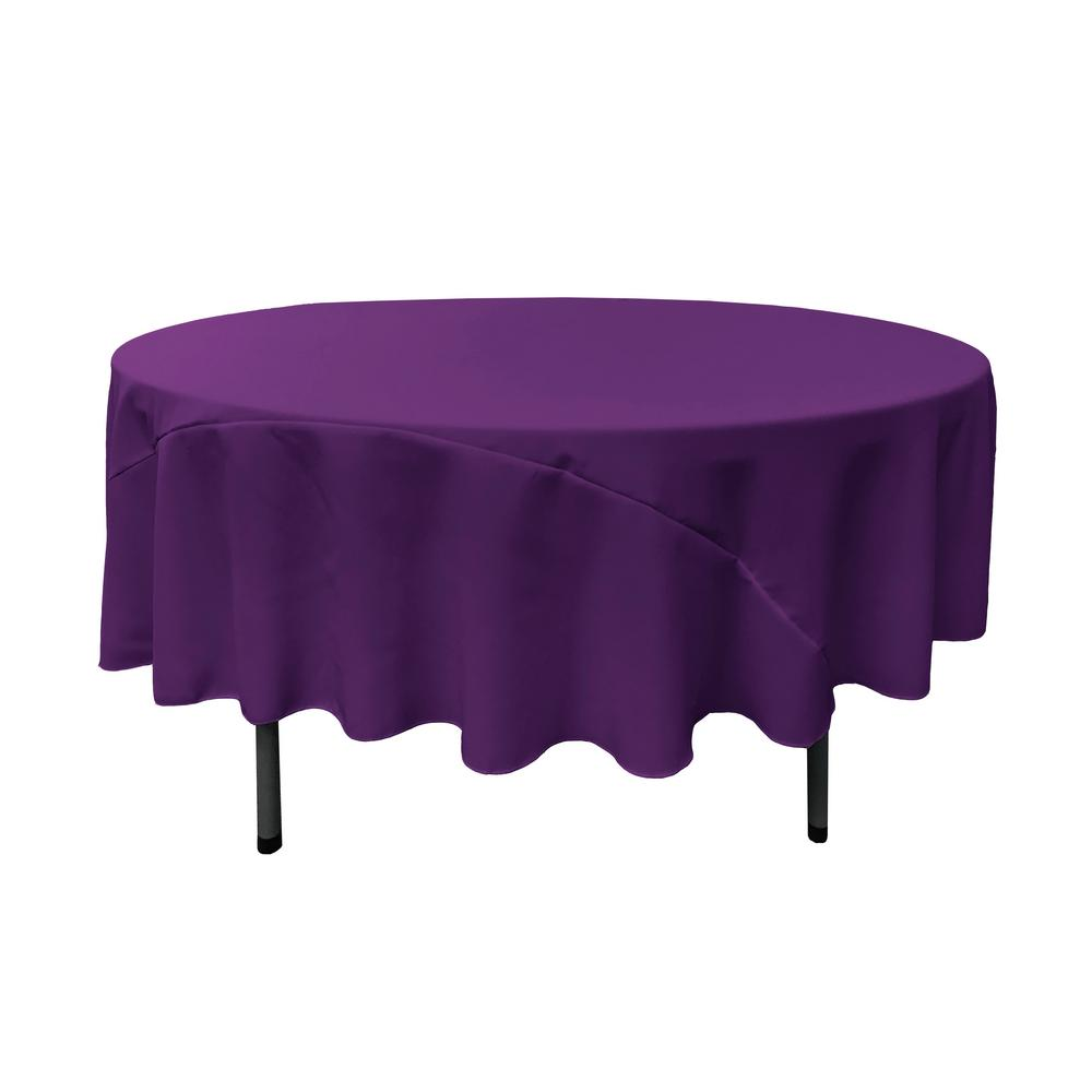 Charmant LA Linen 90 In. Round Purple Polyester Poplin Tablecloth