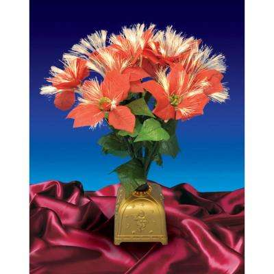 20 in. Pre-Lit Poinsettia Fiber Optic Red Artificial Christmas Plant