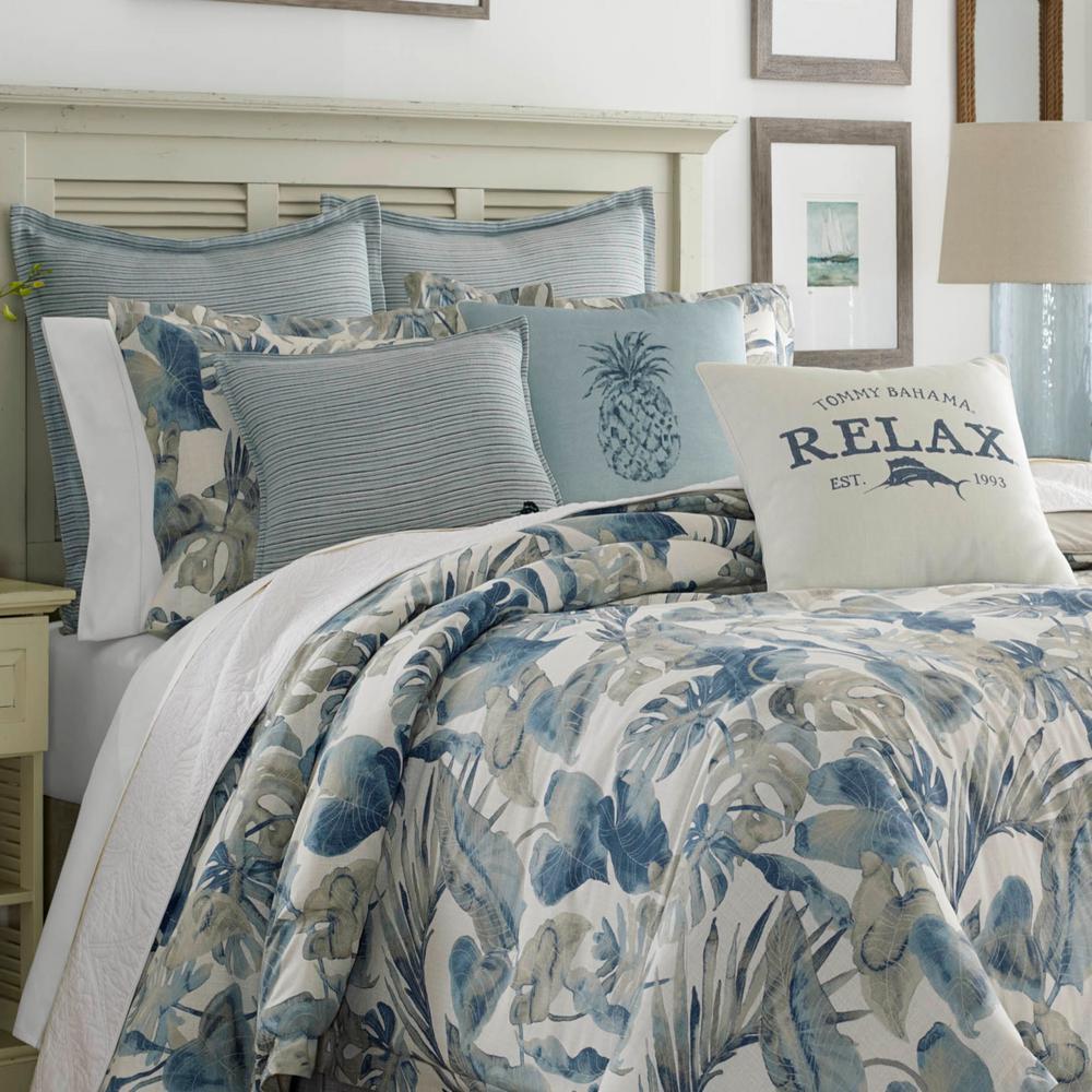 Tommy Bahama Raw Coast 4-Piece Blue Queen Comforter Set