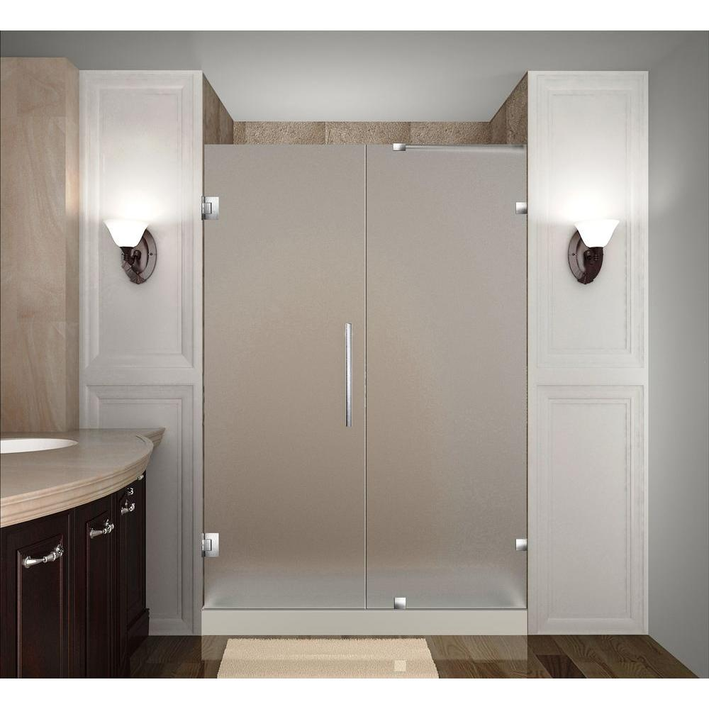 Nautis 42 in. x 72 in. Completely Frameless Hinged Shower Door