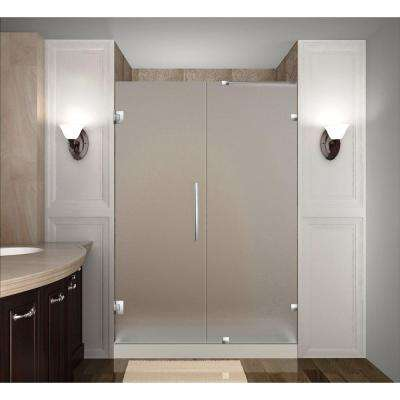 Nautis 44 in. x 72 in. Completely Frameless Hinged Shower Door with Frosted Glass in Stainless Steel