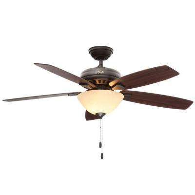 Banyan 52 in. Indoor New Bronze Ceiling Fan with Light Bundled with Handheld Remote Control