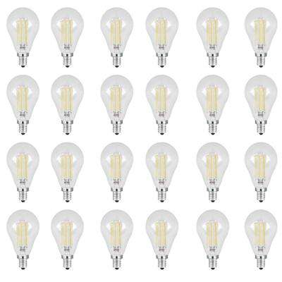 60W Equivalent Daylight (5000K) A15 Candelabra Dimmable Filament Clear Glass LED Ceiling Fan Light Bulb (24-Pack)