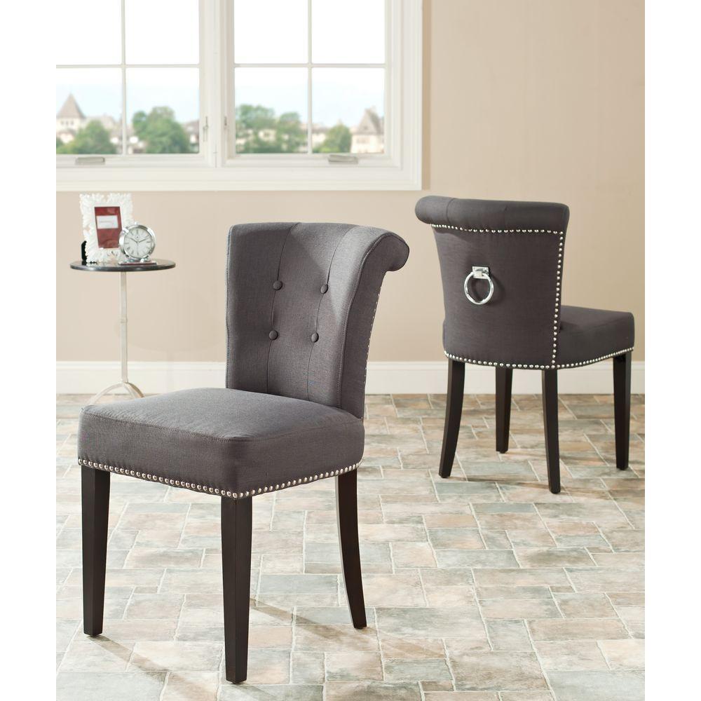 Sinclair Charcoal Linen Blend Side Chair (Set of 2)