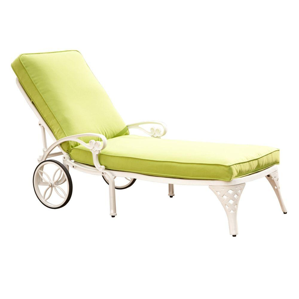 home styles biscayne white patio chaise lounge with green apple cushion 5552 831 the home depot. Black Bedroom Furniture Sets. Home Design Ideas