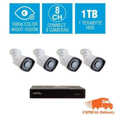 8 Channel 1080p 1TB Video Surveillance NVR System with 4 Bullet Cameras and Starlight Color Night Vision