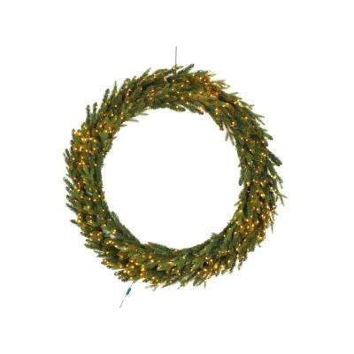 60 in. Pre-Lit LED Artificial Christmas Aspen Fir Wreath