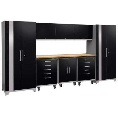 Performance Plus 2.0 80 in. H x 161 in. W x 24 in. D Steel Garage Cabinet Set in Black (9-Piece) with Bamboo Worktop