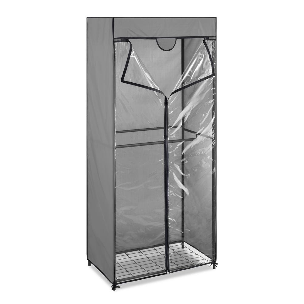 Whitmor Portable Closet 68.5 in. H x 30.3 in W x 18 in. D 2-Tier Metal Frame and Clear View Protective Cover in Gray