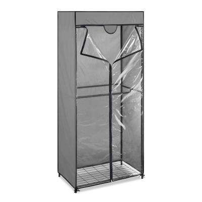Portable Closet 68.5 in. H x 30.3 in W x 18 in. D 2-Tier Metal Frame and Clear View Protective Cover in Gray
