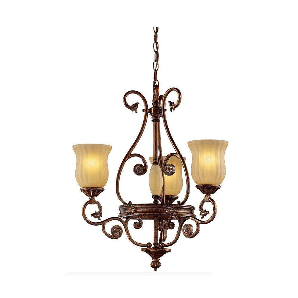 Hampton Bay Freemont Collection 3 Light Hanging Antique Bronze Chandelier With Gl Shades